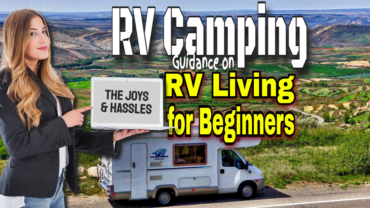 """RVing - Image text: """"RV Camping for Beginners""""."""
